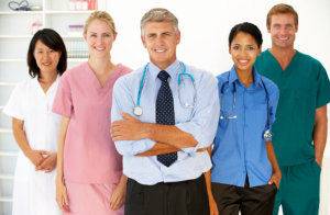 medical staff and caregiver