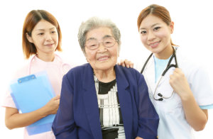 medical staff and old woman